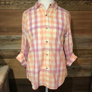 North Face Plaid Button Down L